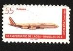 Stamps Costa Rica -  50 aniversario de LACSA. Avión DOUGLAS DC-8.