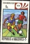 Stamps Maldives -  Campeonato mundial de futbol Alemania Occidental 1974.