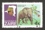 Sellos del Mundo : Africa : República_Democrática_del_Congo : zaire - expedición por el río zaire, un elefante