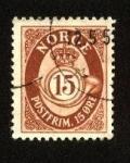 Stamps Norway -  Corona y cuerno postal  - Posthornfrimerker -1894 a 1907.