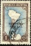Sellos de America - Argentina -  Mapa de Argentina con territorio de la Antártida. Servicio Oficial.