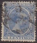 Sellos de Europa - España -  ESPAÑA 1889-99 215 Sello Alfonso XIII Tipo Pelón 5c Usado Espana Spain Espagne Spagna