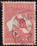 Stamps Oceania - Australia -  CANGURO EN MAPA DE AUSTRALIA