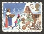 Stamps : Europe : United_Kingdom :  navidad, ilustración de el buen rey wenceslao, el paje y el payaso