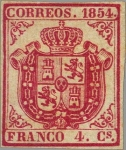 Stamps Europe - Spain -  ESPAÑA 1854 33 Sello Nuevo Escudo de España Sin dentar 4c Carmin Papel delgado