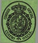 Stamps Europe - Spain -  ESPAÑA 1855 36 Sello Nuevo Escudo de España Servicio Oficial Sin dentar 1o negro sobre rosa