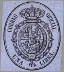 Stamps Europe - Spain -  ESPAÑA 1855 38 Sello Nuevo Escudo de España Servicio Oficial Sin dentar 1libra negro sobre azul
