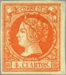 Stamps Spain -  ESPAÑA 1860 52 Sello Nuevo Isabel II sin dentar 4c Naranja sobre Verde Papel Coloreado