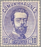 Stamps Europe - Spain -  ESPAÑA 1872 121A Sello Nuevo Corona Real Cifras y Amadeo I 10cu Ultramar