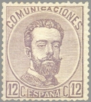 Stamps Europe - Spain -  ESPAÑA 1872 122 Sello Nuevo Corona Real Cifras y Amadeo I 12cu Lila Grisaceo