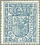 Stamps Spain -  ESPAÑA 1896-98 231 Sello Nuevo Escudo de España Servicio Oficial Congreso Diputados s/v Azul