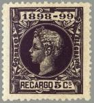 Sellos del Mundo : Europa : España : ESPAÑA 1898 240 Sello Nuevo Alfonso XIII Impuesto de Guerra 5c Negro