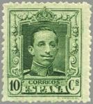 Stamps Spain -  ESPAÑA 1922 314 Sello Nuevo Alfonso XIII Tipo Vaquer 10c Verde nº control al dorso Espana Spain Espa