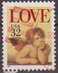 Stamps United States -  USA 1995 Scott 2957 Sello º Love Pintura Angel de la Capilla Sixtina de Raphael usado Estados Unidos