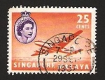 Stamps : Asia : Singapore :  elizabeth II, avión