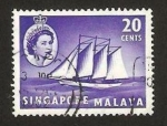 Stamps : Asia : Singapore :  elizabeth, barco