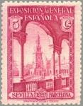 Sellos de Europa - España -  ESPAÑA 1929 436 Sello Nuevo Por Exposiciones de Sevilla y Barcelona nº control dorso Plaza de España