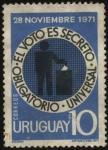 Sellos de America - Uruguay -  El voto es secreto universal y obligatorio.