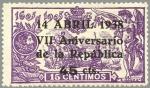 Stamps Spain -  ESPAÑA 1938 755 Sello Nuevo VII Aniversario de la Republica Habilitado 45c - 15c
