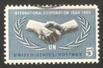 Stamps United States -  20 anivº de la ONU y año de la cooperación internacional