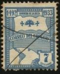 Stamps America - Uruguay -  Colón parte del puerto de Palos. Bandera de la Raza.