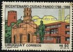 Stamps Uruguay -  Monumento de Artigas. 200 años de la ciudad de Pando. 1788-1988.