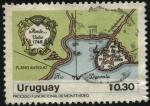 Stamps Uruguay -  Prceso fundacional de Montevideo. Mapa antiguo de la Ciudadel año 1748.