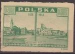 Stamps Poland -  Polonia 1945 Scott 376 Sello Vistas de Varsovia Ayuntamiento Usado Polska Poland Polen