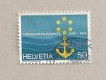 Stamps Switzerland -  100 años de mapa navegación por el Rhin