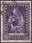 Sellos del Mundo : Europa : Polonia : Polonia 1956 Scott 747 Sello Madonna La Virgen de Veit Stoss Usado Polska Poland Polen Pologne