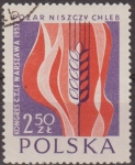 Sellos de Europa - Polonia -  Polonia 1957 Scott 788 Sello Nuevo Congreso C.T.I.F. Grano y Llamas matasellos de favor Preobliterad