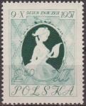 Sellos de Europa - Polonia -  Polonia 1957 Scott 790 Sello Nuevo Dia del Sello Chica Escribiendo una Carta de Fragona Rd