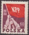 Stamps Europe - Poland -  Polonia 1958 Scott 834 Sello Nuevo Bandera Roja Partido Comunista Polaco Polska Poland Polen Pologne