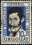 Stamps Uruguay -  Brigadier General Manuel Oribe.