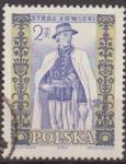 Stamps Poland -  Polonia 1959 Scott 894 Sello Trajes Regionales Hombre Lowiez Usado Polska Poland Polen Pologne
