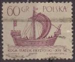 Sellos de Europa - Polonia -  Polonia 1963 Scott 1129 Sello Antiguos Barcos Frison Kogge Koga Statek Fryzyjski Siglo XIV Usado Pol
