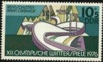 Stamps Germany -  XII Olimpíadas de Invierno. Pista de trineo de Oberhof.