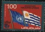 Sellos de America - Uruguay -  Año internacional de la mujer. 30 años de las Naciones Unidas. Banderas de Uruguay y de ONU.