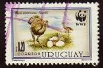 Stamps Uruguay -  Ñandu con su cria y nido