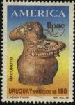 Stamps Uruguay -  Union Postal de las Américas. Ñacurutu - Pieza de cerámica indígena guaraní encontrada en el pueblo