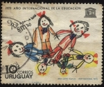 Stamps of the world : Uruguay :  UNESCO. 1970 año internacional de la educación. Ronda dibujo infantil.