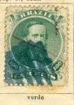 Sellos de America - Brasil -  Emperador Pedro II 1866