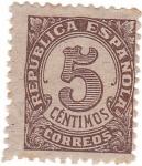 Sellos de Europa - España -  Cifra. 5 céntimos. República Española