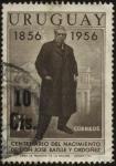 sellos de America - Uruguay -  100 años del nacimiento de Don José Batlle y Ordoñez. Sobreimpreso