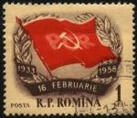 Sellos del Mundo : Europa : Rumania : Bandera del partido comunista Rumano.