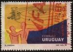 Sellos de America - Uruguay -  Imprenta y órbitas planetarias. Educación.