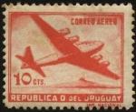 Sellos de America - Uruguay -  Avión cuatrimotor.