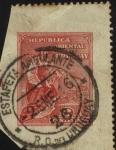 Stamps America - Uruguay -  Alegoría Republicana. Mata sello estafeta ambulante.