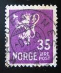 Stamps Norway -  Leon Rampante. Correo postal