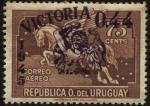 Stamps Uruguay -  Pegasus sobrecargado Victoria 1945, sobretasa 0,44 pesos.
